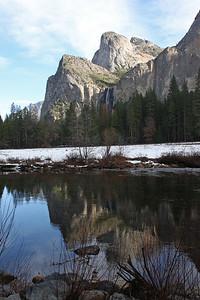 Cathedral Rocks and Bridal Veil Fall Reflected in the Merced River Yosemite National Park, California January 16, 2010 J16(11)