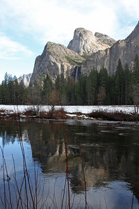 Cathedral Rocks and Bridal Veil Fall Reflected in the Merced River Yosemite National Park, California January 16, 2010 J16(13)