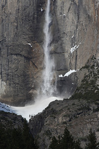An ice cone forms at the base of Upper Yosemite Fall during the winter months. Yosemite National Park January 15, 2011 J15(5)