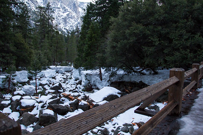 January 16, 2017 Frazil ice accumulation shown from the bridge at Lower Yosemite Fall.