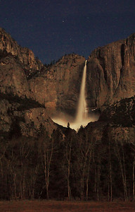 Yosemite Falls on a full moon Spring-flood night.
