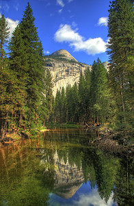North Dome over the Merced River in Yos. Valley.