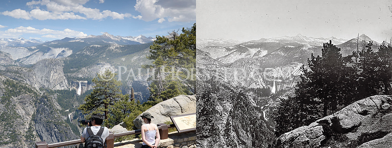 Yosemite National Park, from Glacier Point, Vernal and Nevada Falls in distance.