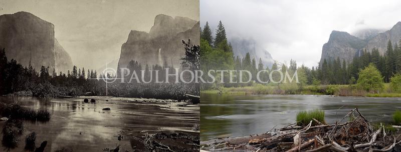 Yosemite National Park, Valley View with El Capitan at left and Bridal Veil Fall at right.