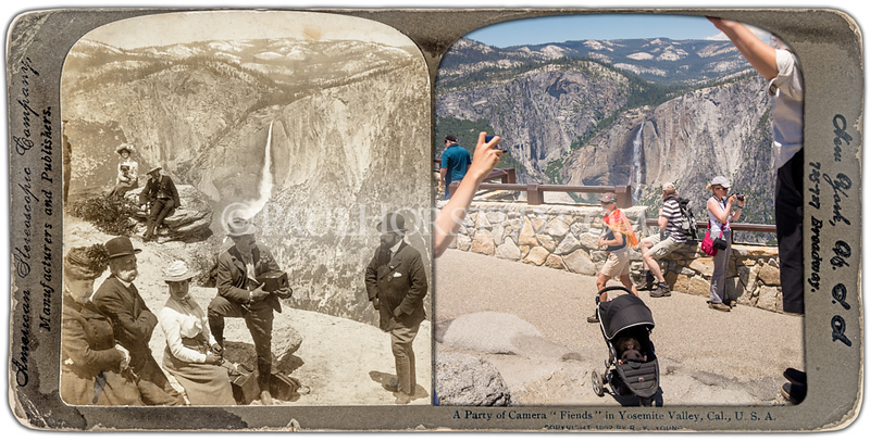 "Yosemite National Park, Camera ""Fiends"" at Glacier Point. Yosemite Falls in distance."
