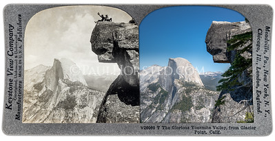 Yosemite National Park Yesterday & Today. Glacier Point looking toward Half Dome, circa 1910.