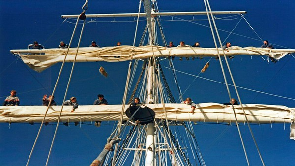 Craig Harris sails on a real sailing ship the Young Endeavour.