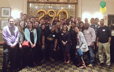 Great group of young alumni attendees to celebrate George Mason's birthday!