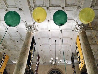 Gorgeous venue and of course, green and gold decorations!