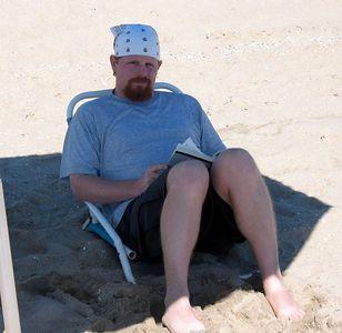 Wade sitting on Hunington beach