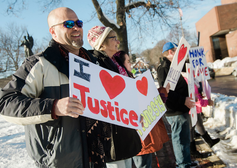 First Parish Church of Fitchburg and Wil Darcangelo (pictured) and the Tribe hosted the 'Young People's Walk for Love' on the Upper Common in Fitchburg on Tuesday, February 14, 2017. SENTINEL & ENTERPRISE / Ashley Green