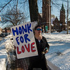 First Parish Church of Fitchburg and Wil Darcangelo and the Tribe hosted the 'Young People's Walk for Love' on the Upper Common in Fitchburg on Tuesday, February 14, 2017. Leona Phaneuf holds a sign as the group parades around the Upper Common. SENTINEL & ENTERPRISE / Ashley Green