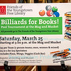 Billiards For Books, to benefit the Youngstown Free Library, held at the Mug & Musket Tavern, Youngstown, NY on March 25, 2017.