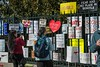 March for Our Lives, rally for gun control and anti-gun violence in Washignton D.C. on March 24, 2018. Participants place discarded protest posters in the fence across from the Smithsonian Museum of American History