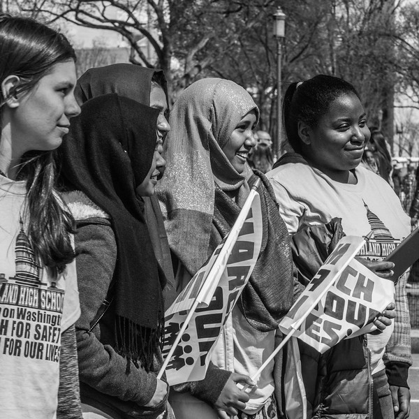 March for Our Lives, rally for gun control and anti-gun violence in Washignton D.C. on March 24, 2018. Diverse group of young ladies pose as a group.