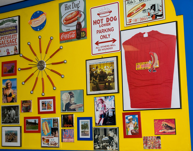 A Chicago Illinois restaurant, Hot Doug's. This establishment features exotic and unique sausages and hot dogs, often named for celebrities, such as the super spicy andouille sausage dog known as the Selma Hayek. Hot Dougs' is also know for their tasty fries cooked in duck fat.