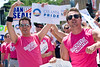 "Supporters of Senator Barack Obama, a popular Democratic presidential candidate in the gay community, march with t-shirts that read, ""I'm Out for Obama"" in the Chicago Gay Pride Parade."