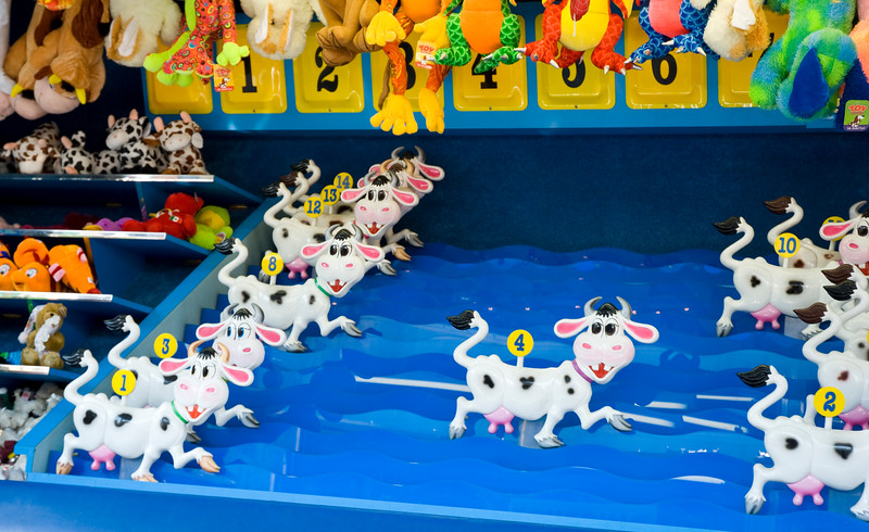 Squirt guns aimed at moving targets make these cows race at May Fest. May Fest Chicago is produced by a German group known as the Mardi Gras Society in the Lincoln Square neighborhood in Chicago, Illinois. The festival promotes German culture, including food, dance, music, and traditional clothing.