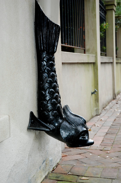 Savannah, Georgia. Historic District, ornate fish rain spout on side of a building.