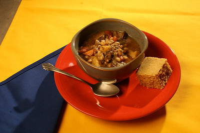 Beef Barley Soup and Barley Cornbread