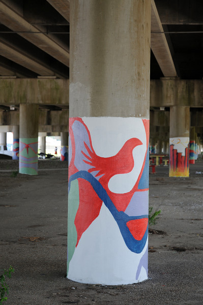 service project - painting murals under highway 610