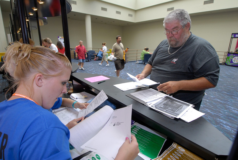 Registration   Kaethe Birkner and Hannah Riedemann and Mike Furst from Bethany Lutheran Minap