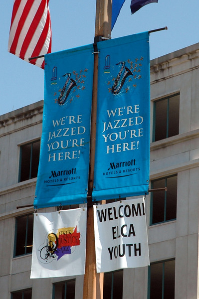 Banners outside the convention center.
