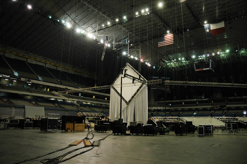 Contruction begins on the stage in the Alamodome for the 2006 ELCA Youth Gathering. Morning Bible studies and evening Mass Gatherings will be held in the Alamodome, where a total of about 39,000 people are expected to attend over the two-week period.