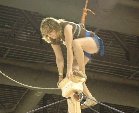 Karen climbs to the top!