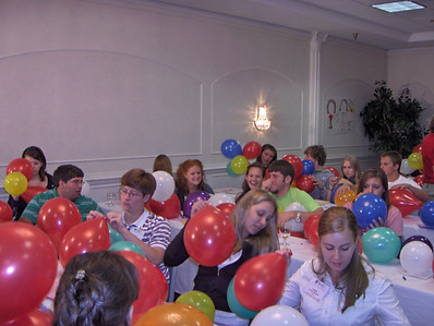 The YLC getting their values (balloons) in order.