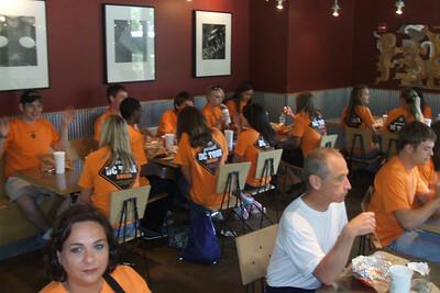 Eating at Chipolte in Arlington, Virginia.
