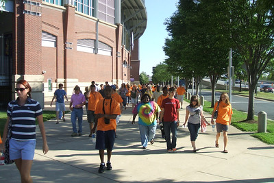 Walking to Camden Yard along the home of the Baltimore Ravens football team.