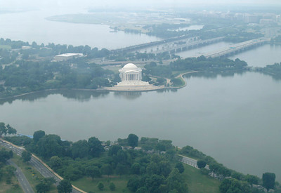 The Jefferson Memorial as seen from the outlook area at the top of the Washington Monument.