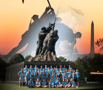 A combination of photos at the Iwo Jima Memorial.