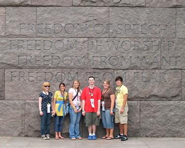 Students at the Franklin D. Roosevelt (FDR) Memorial.