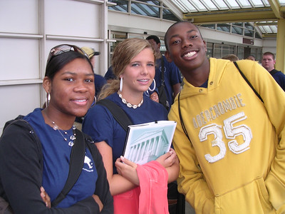 Day 6 - Tiffani Gaskin (Black River), Carrie Lake (Newberry) and Delonta Jones (Aiken) at the Reagan National Airport in Washington, DC, waiting to go home. They had to be downstairs with their suitcases at 7:00 a.m., so they look surprisingly alert considering the early hour!