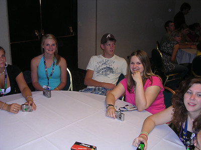 Day 5 - Carrie Lake (Newberry), Heather Richardson (Statewide), Cody Lever (Newberry), Brandy Gaskins (Berkeley) and Kasey Stewart (York) waiting for pizza at the farewell party.