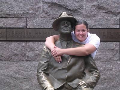 Day 5 - Jessica Creel of Berkeley Electric gives ol' Frank a hug! Students visited the Franklin Delano Roosevelt Memorial on Wednesday afternoon.