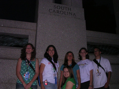 Day 4 - At the World War II Memorial in front of the South Carolina tower. Standing: Kasey Stewart, Courtney Lake, Robyn Risher, Christine Allen and Arik Furner. Kneeling: Brandy Gaskins.