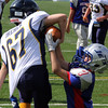 Lynnfield, Ma. 9-10-17. Evan Wickard, 7, of Amesbury, tries to take the ball from Steven Dreher of Lynnfield in Sunday's game at Lynnfield Hight School.