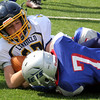 Lynnfield, Ma. 9-10-17. Steven Dreher and Evan Wickard struggle for the ball in Sunday's game at Lynnfield High School.