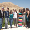 Pilgrims pose for a group photo at the Mount of Temptation.