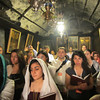 Pilgrims at the Church of the Nativity in Bethlehem.