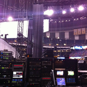 Backstage at the Superdome.