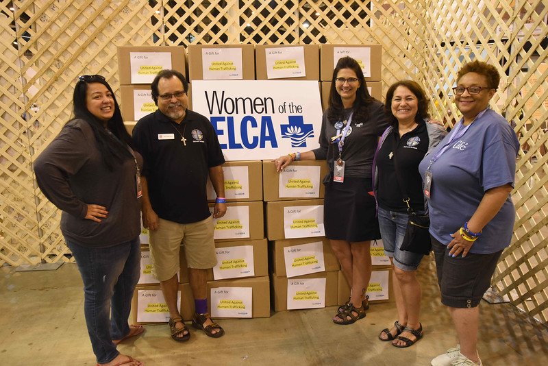 WELCA @ 2018 ELCA Youth Gathering |  Bishop Pedro Manuel Suarez and his wife, Aura Suarez , Florida/ Bahamas Synod, stopped by to talk with staff.