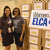 WELCA @ 2018 ELCA Youth Gathering |  Lisa Plorin poses next to the filled boxes of hygiene items with Bishop-elect Viviane Thomas-Breitfeld, Brookfield, Wisc., Greater Milwaukee Synod.