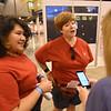 "WELCA @ 2018 ELCA Youth Gathering |  Tina Rosenbaum (left) and Sarah Kribs, Shepherd of Life Lutheran, Arlington, Tx., talk about how their ""pocket Jesus"" t-shirts came to be."