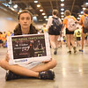 "WELCA @ 2018 ELCA Youth Gathering | Rachel Barrett, Ressurection Lutheran, Indianapolis, Ind., holds a sign sharing the message to ""End Human Trafficking."""