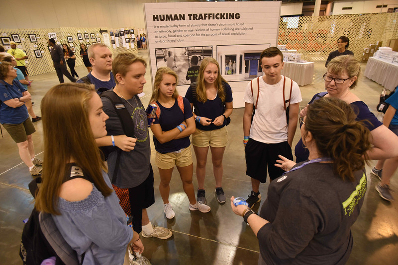 WELCA @ 2018 ELCA Youth Gathering | Youth from Zion Lutheran, Lake Crystal, Minn. and Epiphany Lutheran, Eagle Lake, Minn. listen to Milisa Gaertner as she shares about the ways that youth can fight against human trafficking in their communities.