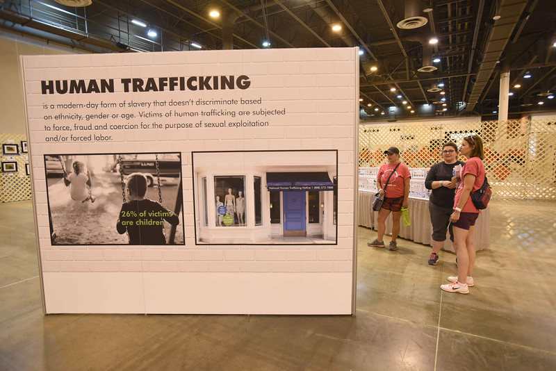 WELCA @ 2018 ELCA Youth Gathering   This is one side of a triangle structure that featured stats about human trafficking and ways young people can stay safe on-line.